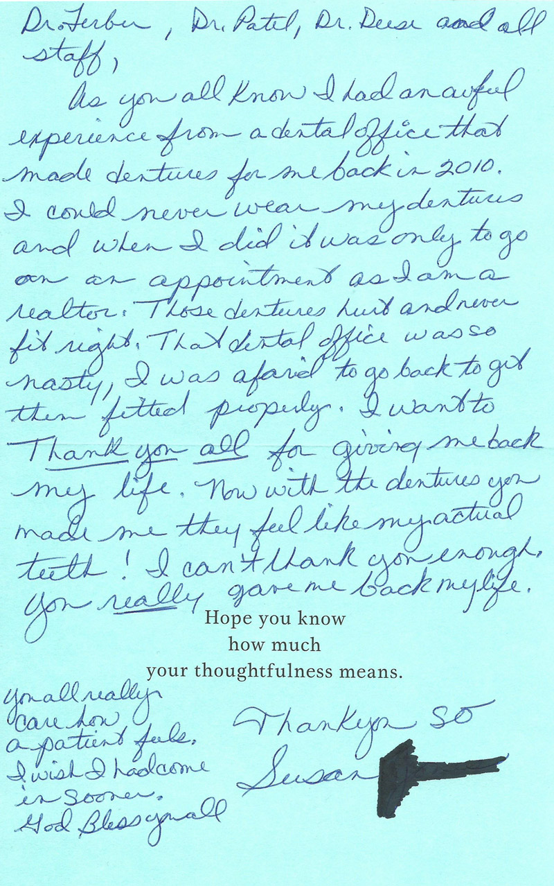 Dental patient reviews greenacres boca raton dental implants read more click here to view the thank you letter aljukfo Image collections